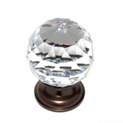 JVJHardware 36212 Pure Elegance 40mm - 1.56 in. - Faceted Ball 31 Percent Leaded Crystal Knob - Old World Bronze