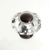 JVJHardware 37512 Pure Elegance 60mm - 2.38 in. - Octogon Faceted 31 Percent Lead Crystal Knob with Cap - Old World Bronze
