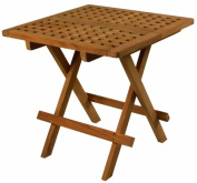 SeaTeak 60030 Folding Deck Table Square-Grate Top Oiled Finish