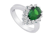 FineJewelryVault UBUK238W10CZE-118 Frosted Emerald and Cubic Zirconia Ring : 10K White Gold - 2.50 CT TGW - Size