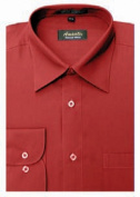Amanti CL1017-22x36-37 Amanti Mens Wrinkle Free Apple Red Dress Shirt - Apple Red-22 x 36-37
