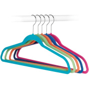 Whitmor Mfg. 6784-1621-5 5 Count Assorted Colours Flocked Suit Hangers