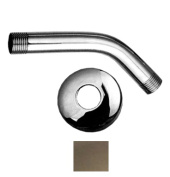 Whitehaus Collection WHSA165-2-BN 6 in. Showerhaus short solid brass shower arm with solid brass escutcheon- Brushed Nickel