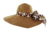 Faddism HATWNSTW-BN-FLR-008 Faddism . Women Summer Straw Hat Brown Design with Brown Flower Bow
