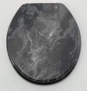 Trimmer Marbleized Wood Toilet Seat Cover - Black