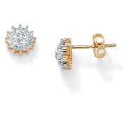 PalmBeach Jewelry 47268 Diamond Accent 10k Yellow Gold Stud Cluster Earrings