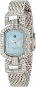 Charles-Hubert Paris 6792-E Chrome Finish Light Blue MOP Dial with Stainless Steel Mesh Band Watch