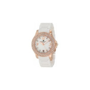Charles-Hubert Paris 6789-WRG Rose-Gold Plated Stainless Steel Case Ceramic Band White Dial Watch