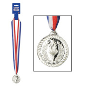 Beistle 57907 Medalwith Ribbon - Silver