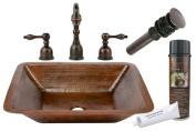 Premier Copper Products BSP2-LREC19DB 19 in. Rectangular Copper Undermount Bathroom Sink with Tru Widespread Faucet