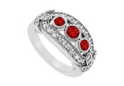 FineJewelryVault UBJ1534W14DR-101 Ruby and Diamond Ring : 14K White Gold - 1.00 CT TGW - Size