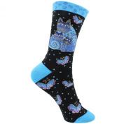 K Bell SOCKS-1103B Laurel Burch Socks-Indigo Cats