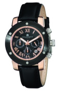 Charles-Hubert Paris 3893-BRG Mens Rose Gold-Plated Stainless Steel Black Dial Chronograph Watch