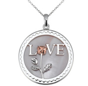 Arjang & Co PS-8012-SP Sterling Silver Love Letter with Red Rose Round Pendant