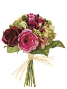 FBQ685-RO-GR 10.5 in. Rose-Hydrangea Bouquet Rose-Green- Pack of 6