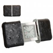 Natico Originals 10-101BK Slide Tvl Alm Clk with Blk Leather