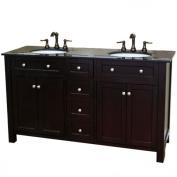 Bellaterra Home 603210-DM 160cm Double Sink Vanity Wood, Dark Mahogany