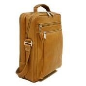 Piel Leather 2818 Laptop Shoulder Bag - Saddle
