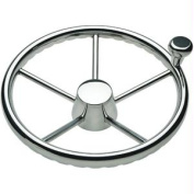Ongaro 170 34cm Stainless 5-Spoke Destroyer Wheel w/ Stainless Cap and FingerGrip Rim - Fits 1.9cm Tapered Shaft Helm