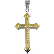 Doma Jewellery DJS01062 Stainless Steel Cross Pendant and Extension Leather Necklace