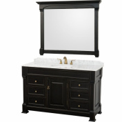 Wyhdham Collection WCVTS55BLCW Andover Antique Black with White Carrera Marble Top with White Undermount Sink