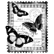 Magenta Cling Stamps, 10cm by 8.3cm , Papillon Postcard