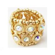 Zirconmania 610R-7624-GAB Goldtone Auroroa Borealis Crystal 2-row Disc Stretch Fashion Ring