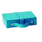 Budd Leather 543221L-11 Lizard Print Leather Travel Jewelry Box - Blue