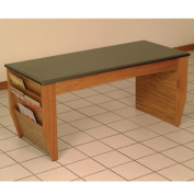 Wooden Mallet DM2-BGMO Coffee Table and Magazine Pockets with Black Granite Look Top in Medium Oak