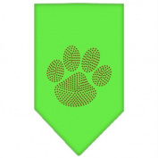 Mirage Pet Products 67-60 SMLG Paw Red Rhinestone Bandana Lime Green Small