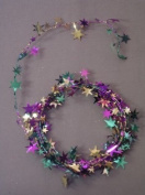 Party Deco 04932 7.6m Purple- Green and Gold Star Wire Garland - Pack of 12