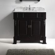 Virtu USA Huntshire 90cm Single Bathroom Vanity Set with White Marble Top and Mirror