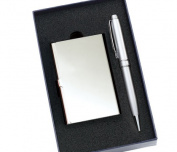 Aeropen International GC-69F Set Silver Card Case with Pen Set in Gift Box