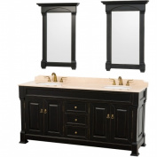 Wyhdham Collection WCVTD72BLIV Andover Antique Black with Ivory Marble Top with White Undermount Sinks