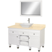 Wyhdham Collection WCV500048WHIVD28WH Premiere White with Ivory Marble Top with White Porcelain Sink