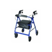 Drive Medical R726SL Aluminium Rollator with Fold Up and Removable Back Support Padded Seat 15cm Casters with Loop Locks- Silver