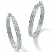 PalmBeach Jewelry 41896 4.50 TCW Round Cubic Zirconia Silvertone Metal 2-Row Hoop Earrings