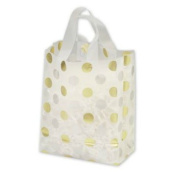 Bags & Bows by Deluxe 268-080410-157C Gold & Silver Dots Clear Frosted Flex Loop Shoppers - Case of 100