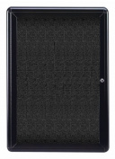 Ghent OVK1-F95 34 in. x 24 in. 1-Door Ovation Black Fabric Tackboard - Black