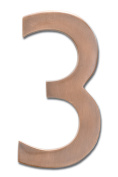 Architectural Mailboxes 3582AC Number 3 Solid Cast Brass 4 inch Floating House Number Antique Copper 3