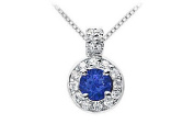 FineJewelryVault UBPD462W14DS-101 Sapphire and Diamond Pendant : 14K White Gold - 1.25 CT TGW