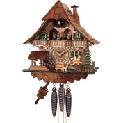 River City Cuckoo MD420-13 One Day Musical Black Forest Cuckoo Clock with Dancers- Waterwheel- and Girl on Rocking Horse - 13 Inches Tall