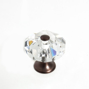 JVJHardware 37312 Pure Elegance 35mm - 1.38 in. - Octogon Faceted 31 Percent Lead Crystal Knob with Cap - Old World Bronze