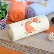 Blancho Bedding TB-BLK011-GIRAFFE-29.5by39.4 Orange Giraffe - Yellow Embroidered Applique Coral Fleece Baby Throw Blanket