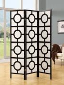 Monarch Specialties I 4619 Black Frame 3 Panel Circle Design Folding Screen