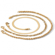 PalmBeach Jewelry 43415 Rope Herringbone and Figaro 18k Yellow Gold Over Sterling Silver Ankle Bracelet 3-Piece Set 10