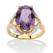 PalmBeach Jewelry 505207 5.20-Carat Oval-Cut Genuine Amethyst with Diamond Accents 18k Yellow Gold Over Sterling Silver Ring - Size 7
