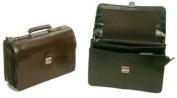 Bond Street 768182BLK Flapover Key Lock Executive Leather Briefcase Color- Black