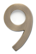 Architectural Mailboxes 3582AB Number 9 Solid Cast Brass 4 inch Floating House Number Antique Brass 9