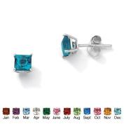 PalmBeach Jewelry 5062912 Sterling Silver Princess-Cut Birthstone Stud Pierced Earrings December - Simulated Topaz